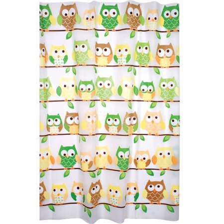 Enigma Printed Peva Shower Curtain, Owls (Owl Shower)