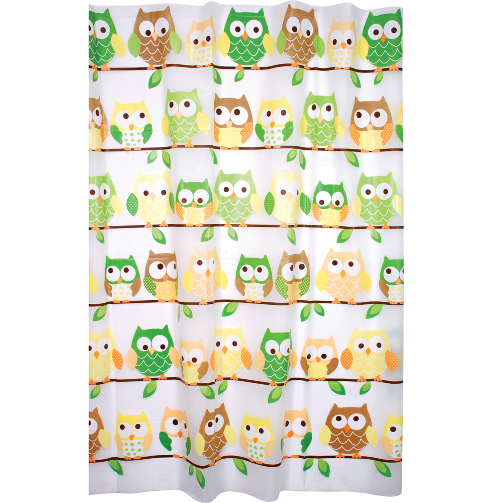 Enigma Printed Peva Shower Curtain, Owls