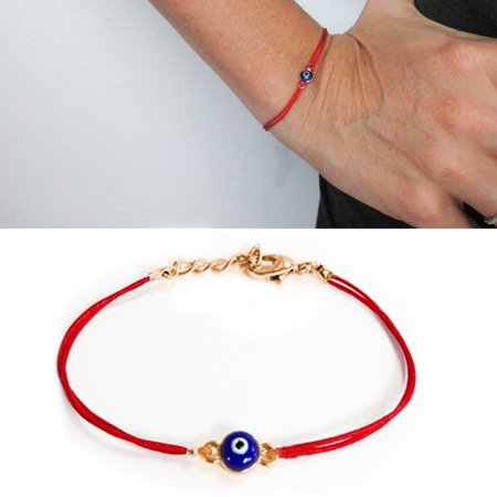 beaded string kabbalah eye amulet bracelet necklace evil red dsc