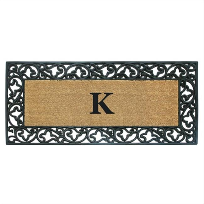 Nedia Home 18014L Acanthus Border 22 x 36 In. Rubber-Coir Doormat - Monogrammed L - image 1 of 1