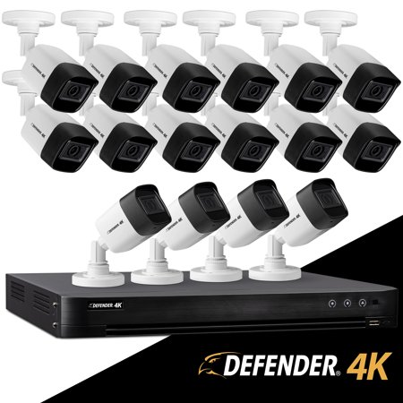 Defender Ultra HD 4K (8MP) DIY Wired Security System with 16 Weather Resistant, Night Vision Cameras, 4TB Hard Drive and Remote Mobile Viewing ()