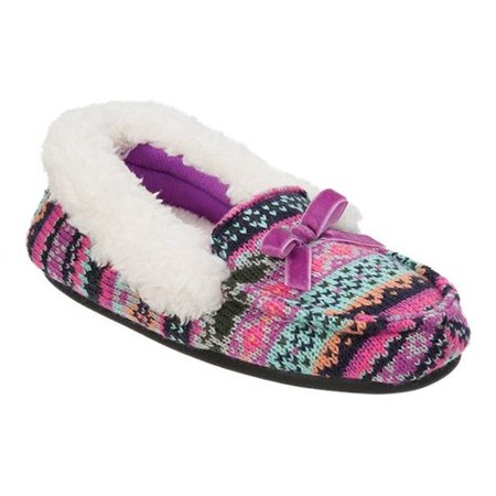 Girls Patterned Knit Moccasin Slipper - Kids Moccasins