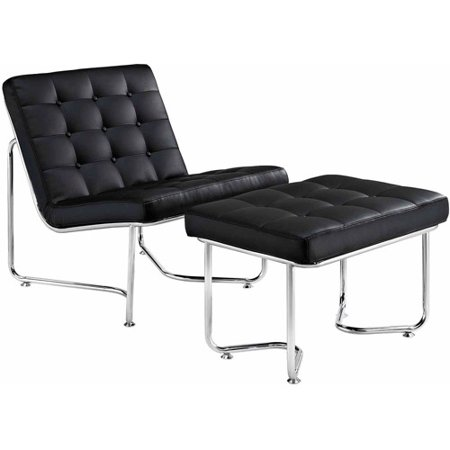 Modway Gibraltar Vinyl Lounge Chair and Ottoman, Multiple Colors
