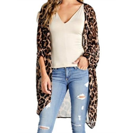 Women Loose Leopard Print Kimono Long Sleeve Open Front Cardigans Gap Print Cardigan