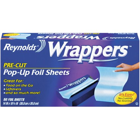 (2 pack) Reynolds Wrappers Pre-Cut Pop-Up Foil Sheets, 12 x 10.75 inches, 50 - Foil Sheets