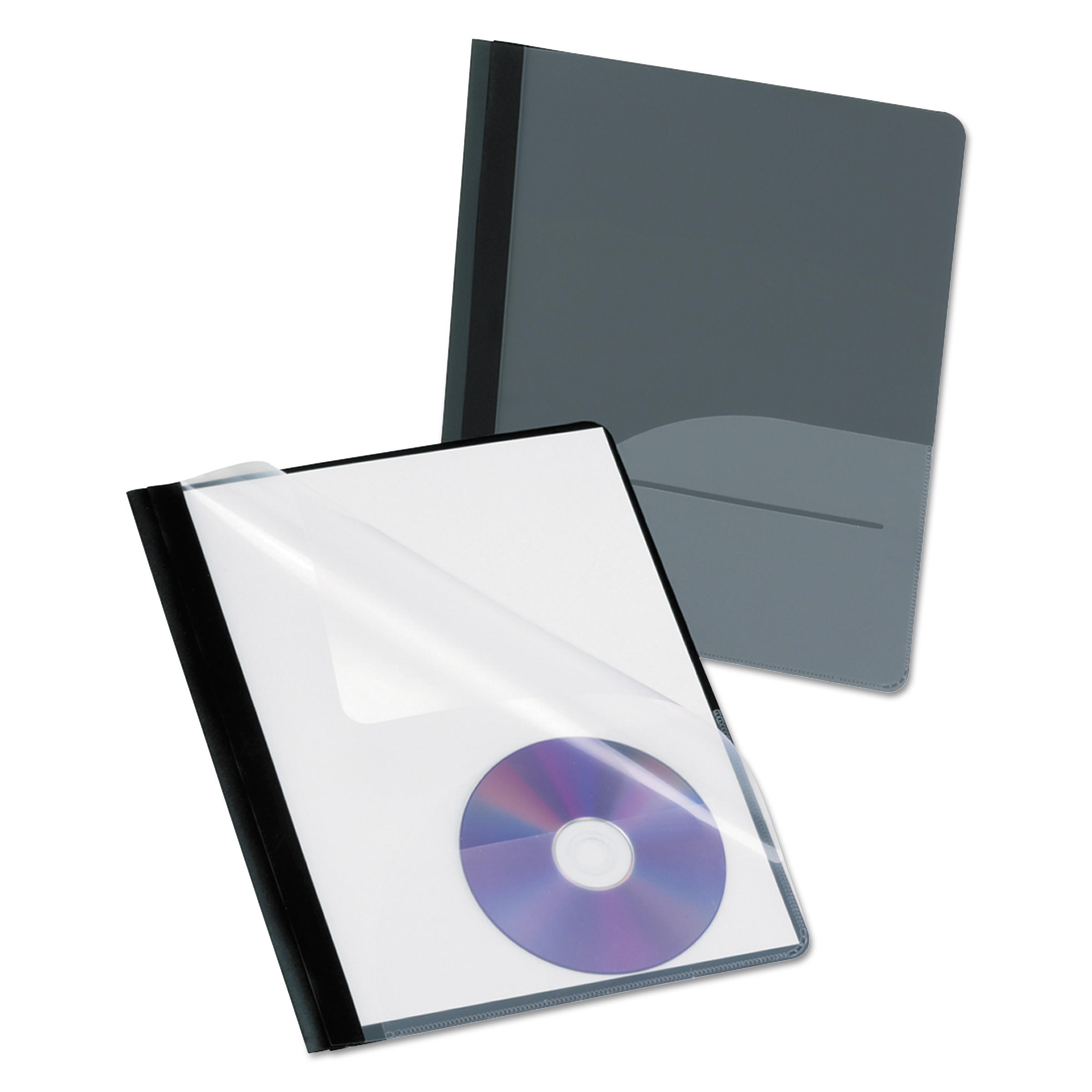 Oxford Clear Front Report Cover, CD Pocket, 3 Fasteners, Letter, Black, 25/Box -OXF57727