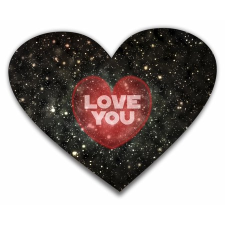 Love You - Galactic Design - Heart Shape Mouse Pad - Love/ Valentine's Day