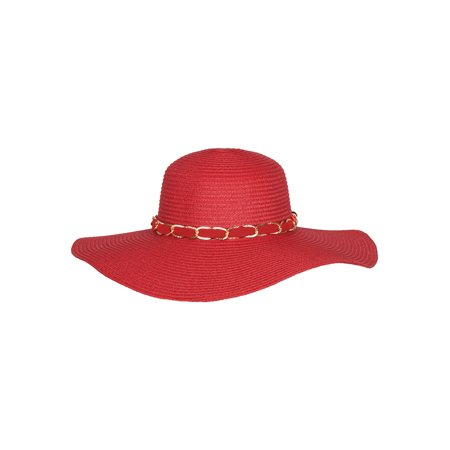 Chic Headwear Large Floppy Paper Braid Sun Hat w/ Chain Link](Link Hat)