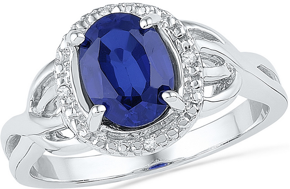 Size 7 Solid 10k White Gold Oval Round Blue Simulated Sapphire And White Diamond Engagement Ring OR Fashion Band Prong... by AA Jewels