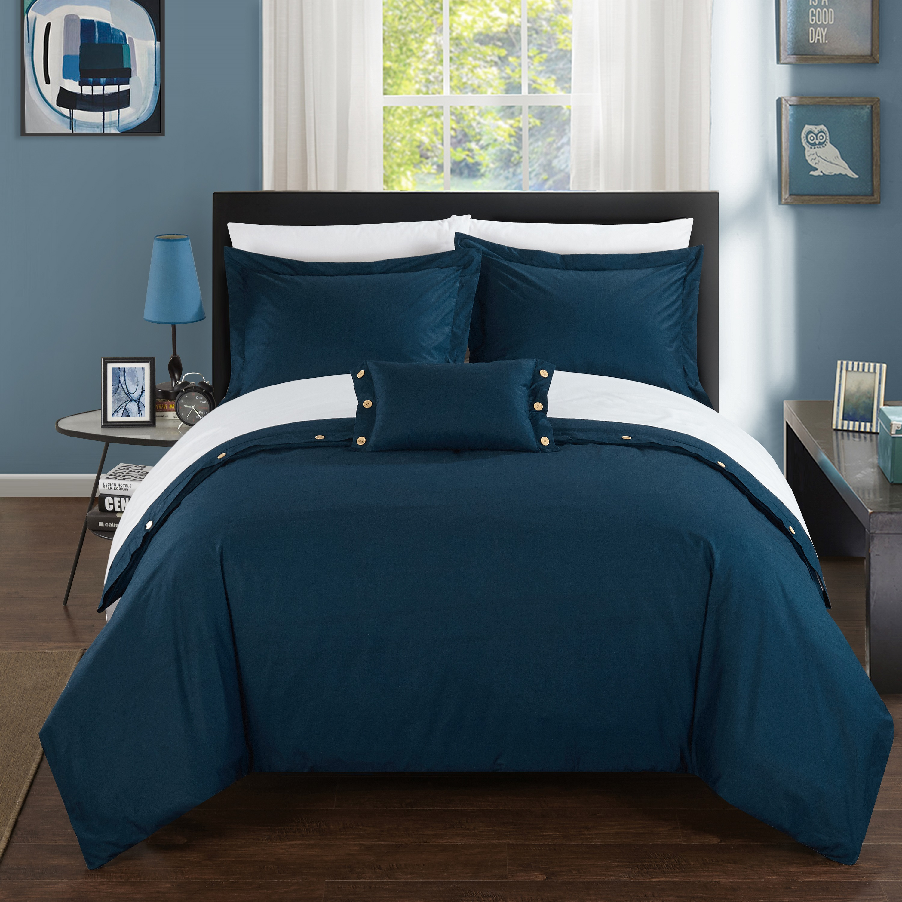 Chic Home 8-Piece Astrid 200 Thread Count COMBED FINISH 100% Cotton Twill Weave Decorative Button Closure Detail Queen Bed In a Bag Duvet Set Navy With sheet set