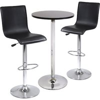High Back Airlift Adjustable 3 Piece Pub Set, Black and Chrome