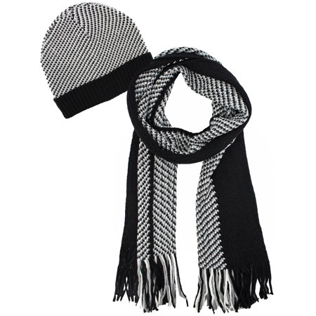 - Mens Black and White Hounds Tooth Winter Knit Hat and Scarf Set