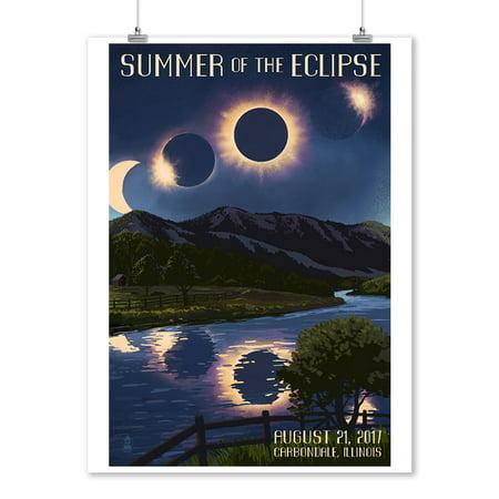 Carbondale Illinois Halloween (Carbondale, Illinois - Solar Eclipse 2017 - Summer of the Eclipse - Lantern Press Artwork (9x12 Art Print, Wall Decor Travel)