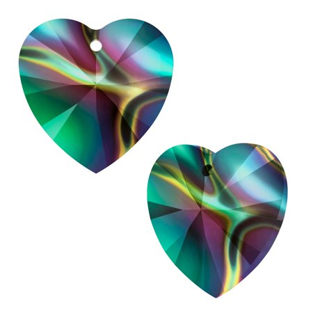 Swarovski Crystal, #6228 Heart Pendants 14mm, 2 Pieces, Crystal Rainbow