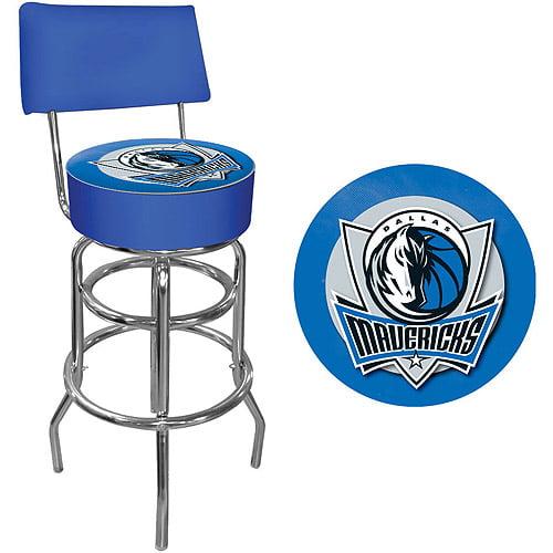 "Trademark NBA Dallas Mavericks 40"" Padded Swivel Bar Stool with Back, Chrome"