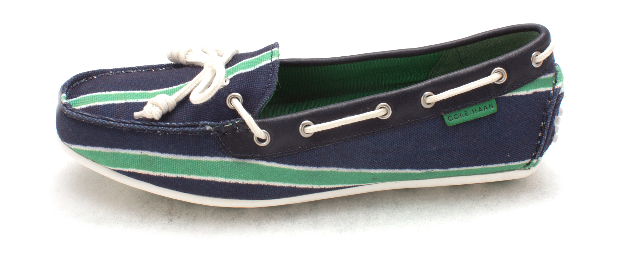 Cole Haan Womens Yeddasam Closed Toe Boat Shoes, Blue/Green Stripe, Size 6.0