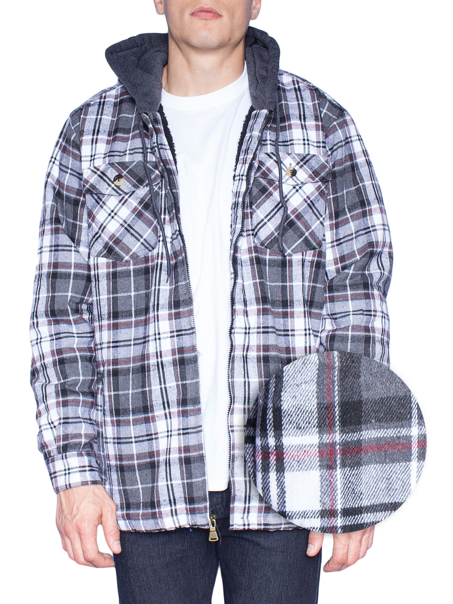 Hoodie Flannel Fleece Jacket For Men Zip Up Big & Tall Lined Sherpa Sweatshirts (XL-Tall, Grey/White)