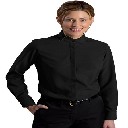 Edwards Garment Women's Banded Collar Long Sleeve Blouse, Style 5392 Banded Collar Long Sleeve Work Shirt