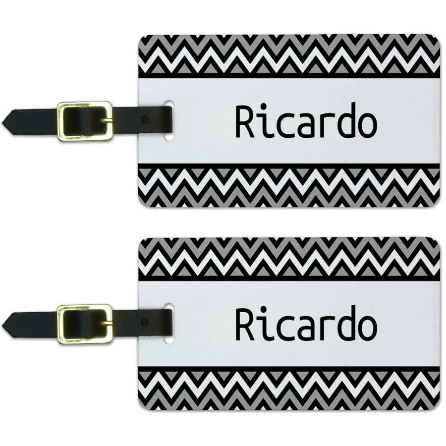Ricardo Black and Grey Chevrons Luggage Suitcase Carry-On ID Tags, Set of 2