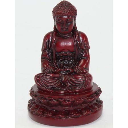 "Feng Shui 2"" Red Meditating Buddha Figurines Peace Luck Prosperity Statues Paperweights Gift Home Decor Housewarming Gift A10275 CB50"