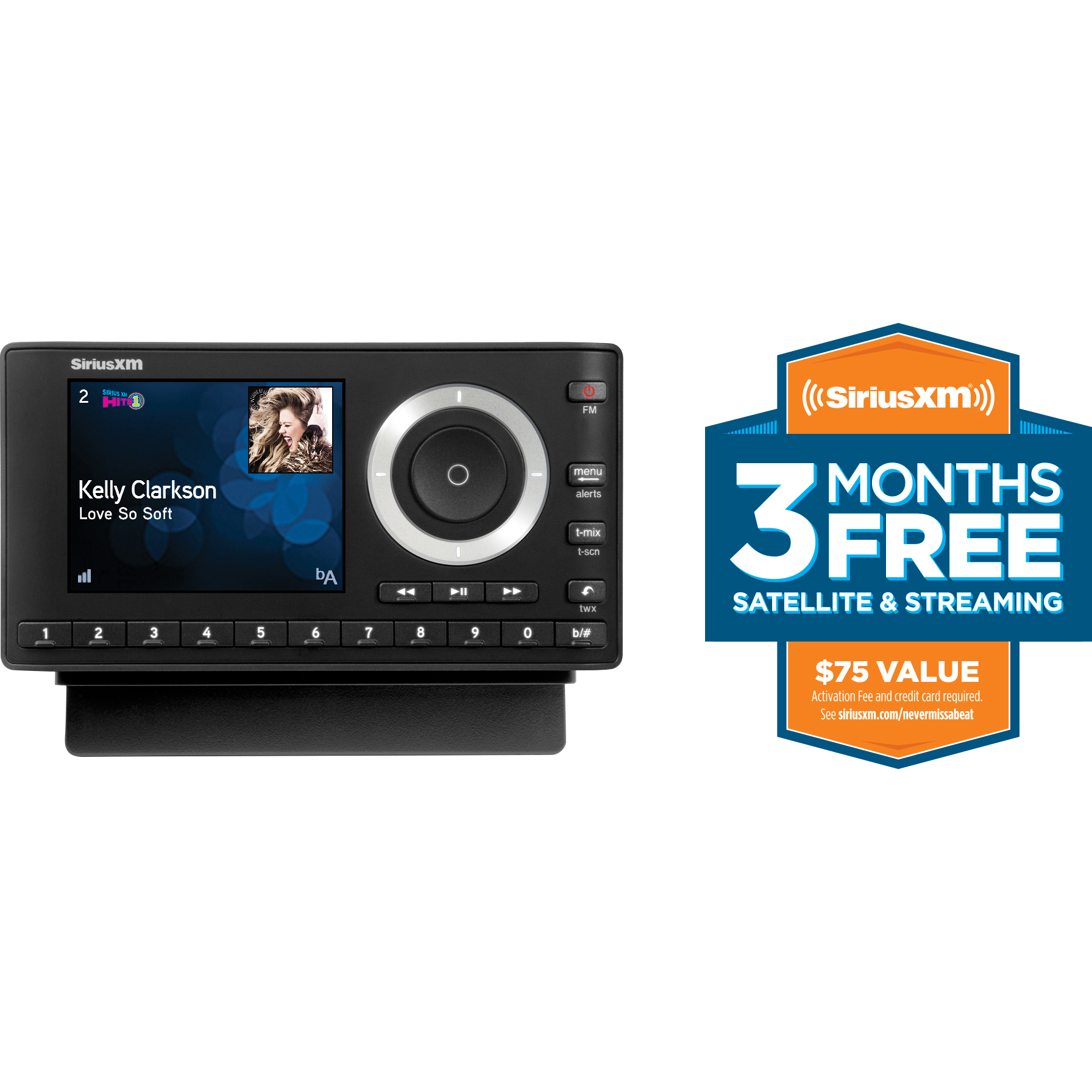 SiriusXM SXPL1V1 Onyx Plus Satellite Radio with Vehicle Kit with Free 3 Months Satellite and Streaming Service