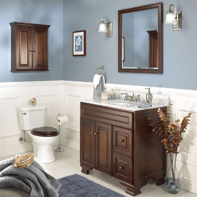 High Quality Foremost Hawthorne 30 In. Dark Walnut Single Bathroom Vanity With Mirror