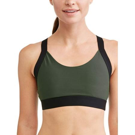 - Avia Women's Medium Impact Colorblock Elastic Strap Sports Bra