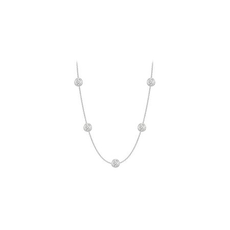 CZ Necklace Designer in 14K White Gold 25 Carat TGW with 36 Inch Cable Chain - image 1 de 2