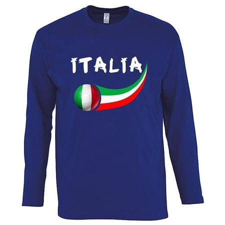 Mens Italian (Supportershop ITLSBL-XXL Italy Long Sleeve Mens Blue T-shirt, 2XL )