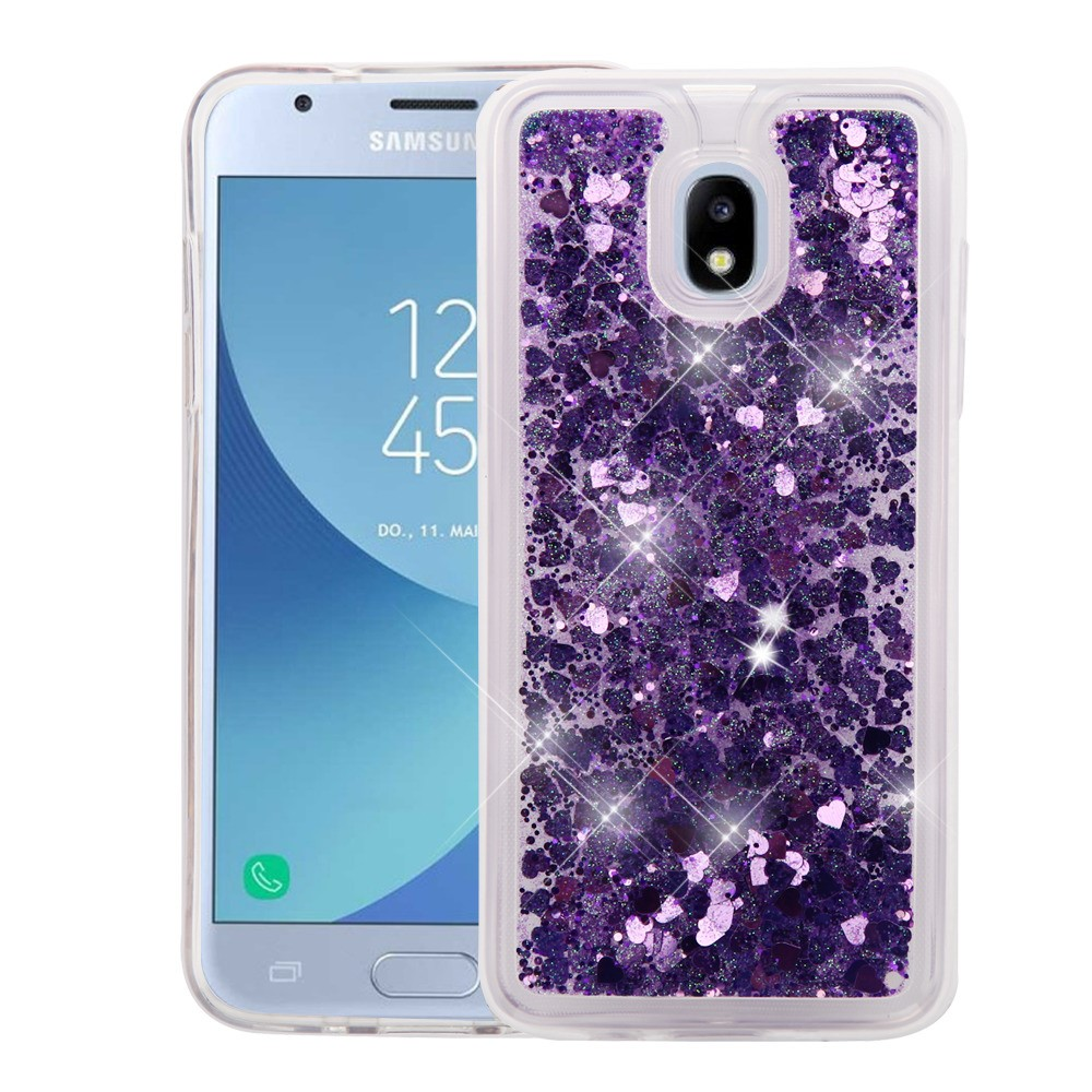 Bemz Liquid Glitter Quicksand Protective Cover Case with Atom Cloth for Samsung Galaxy J3 Achieve - Purple Love Hearts