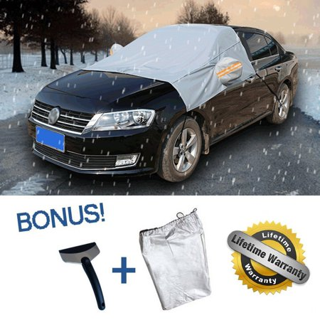 iClover Windshield Snow Cover with Ice Scraper and Free Storage Pouch Car Frost Guard Windshield Snow Cover Protector - Covers Windshield, Wipers and