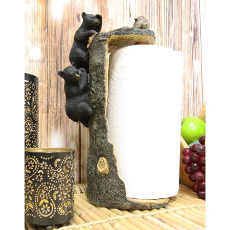 Ebros Rustic Nature Wildlife Woodland Forest Animal Climbing Black Bears Spotting Beehive On Tree Paper Towel Holder Display Dispenser Stand Kitchen Bathroom Home Decor Party Hosting Accent thumbnail