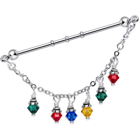 Swarovski Barbell (Body Candy Handcrafted Christmas Lights Industrial Barbell Created with Swarovski Crystals)