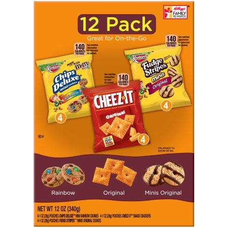 (2 Pack) Keebler Chips Deluxe/Cheez-It/Fudge Stripes Snack Variety Pack 12-1 oz. Packages