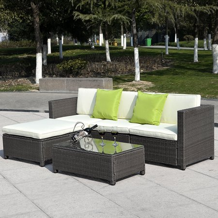 Costway Outdoor Patio 5pc Furniture Sectional Pe Wicker Rattan Sofa Set Deck Couch Black (Brown) ()