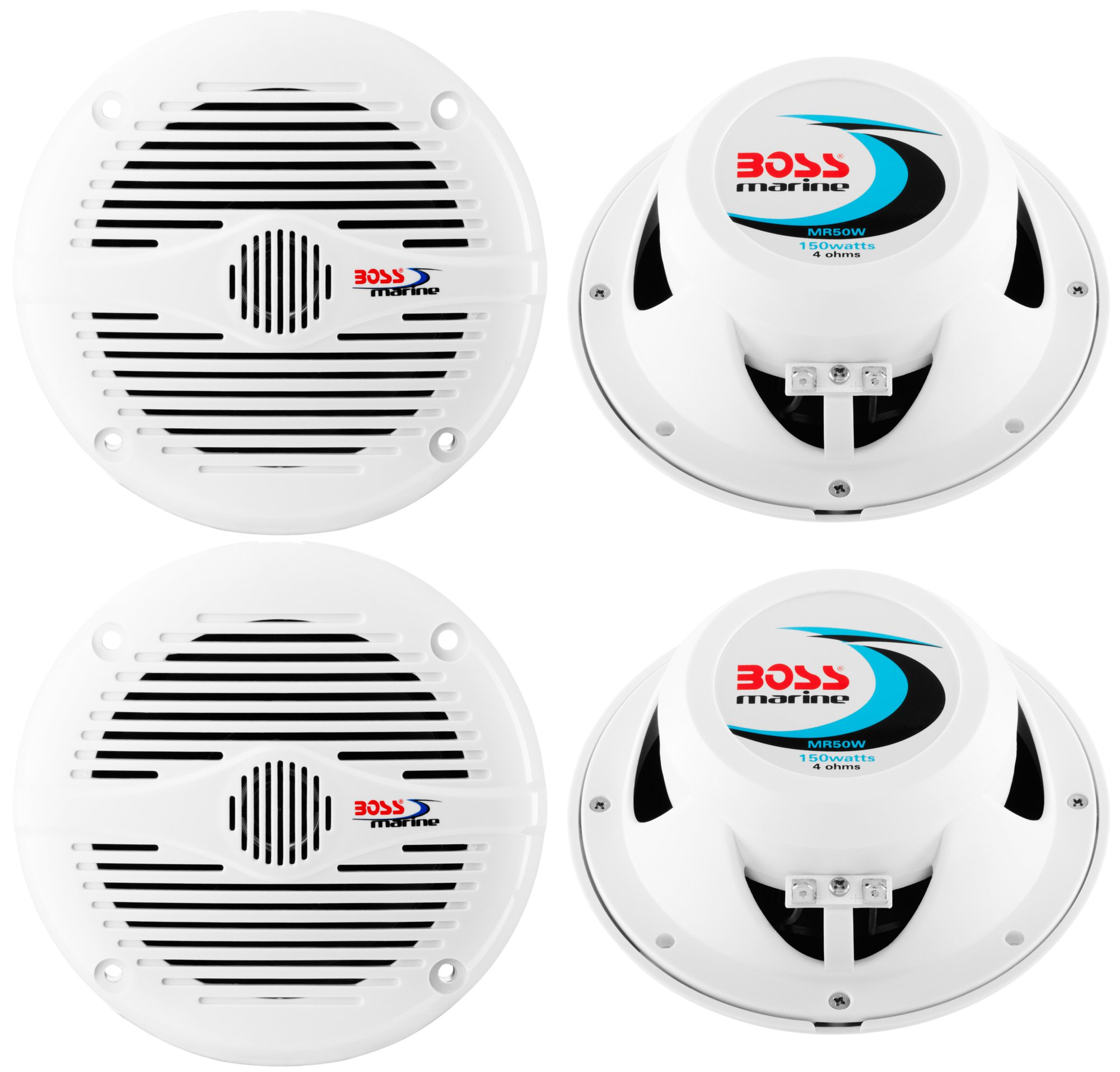 "4) NEW BOSS MR50W 5.25"" 2-Way 300W Marine/Boat Coaxial Audio Speakers - White"