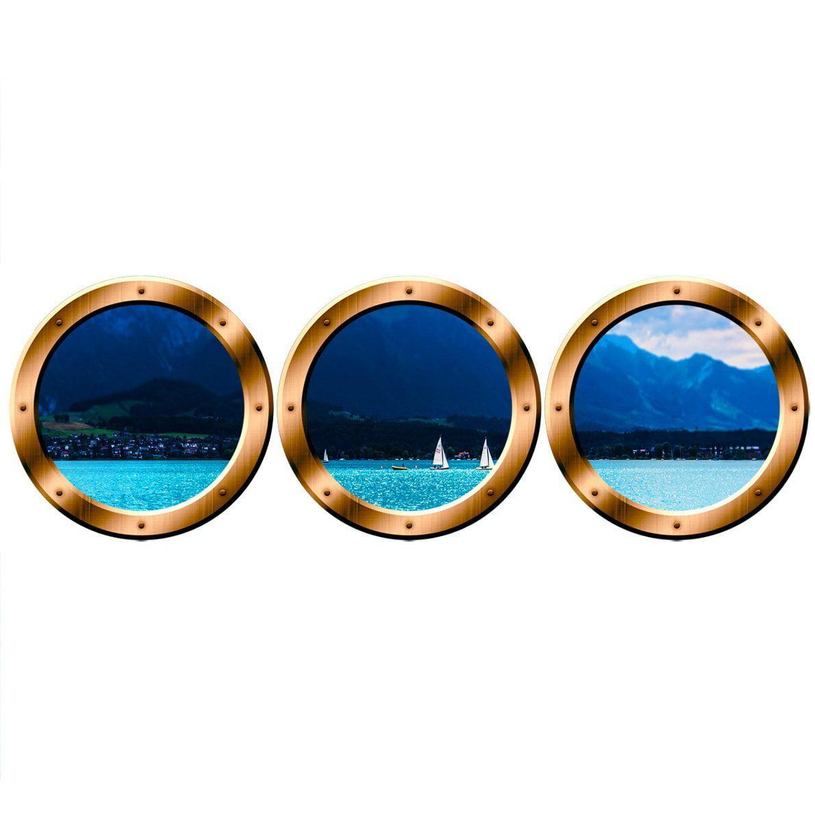 "VWAQ Portholes Decor, Boat Window Decals  Ocean View Wall Mural - VWAQ-SPW3 (20"" Variation, Bronze)"