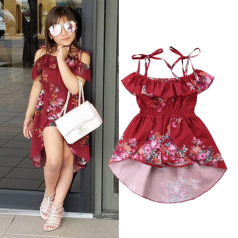 Infant Baby Girls Kids Off Shoulder Dress Romper Bodysuit Jumpsuit Outfits