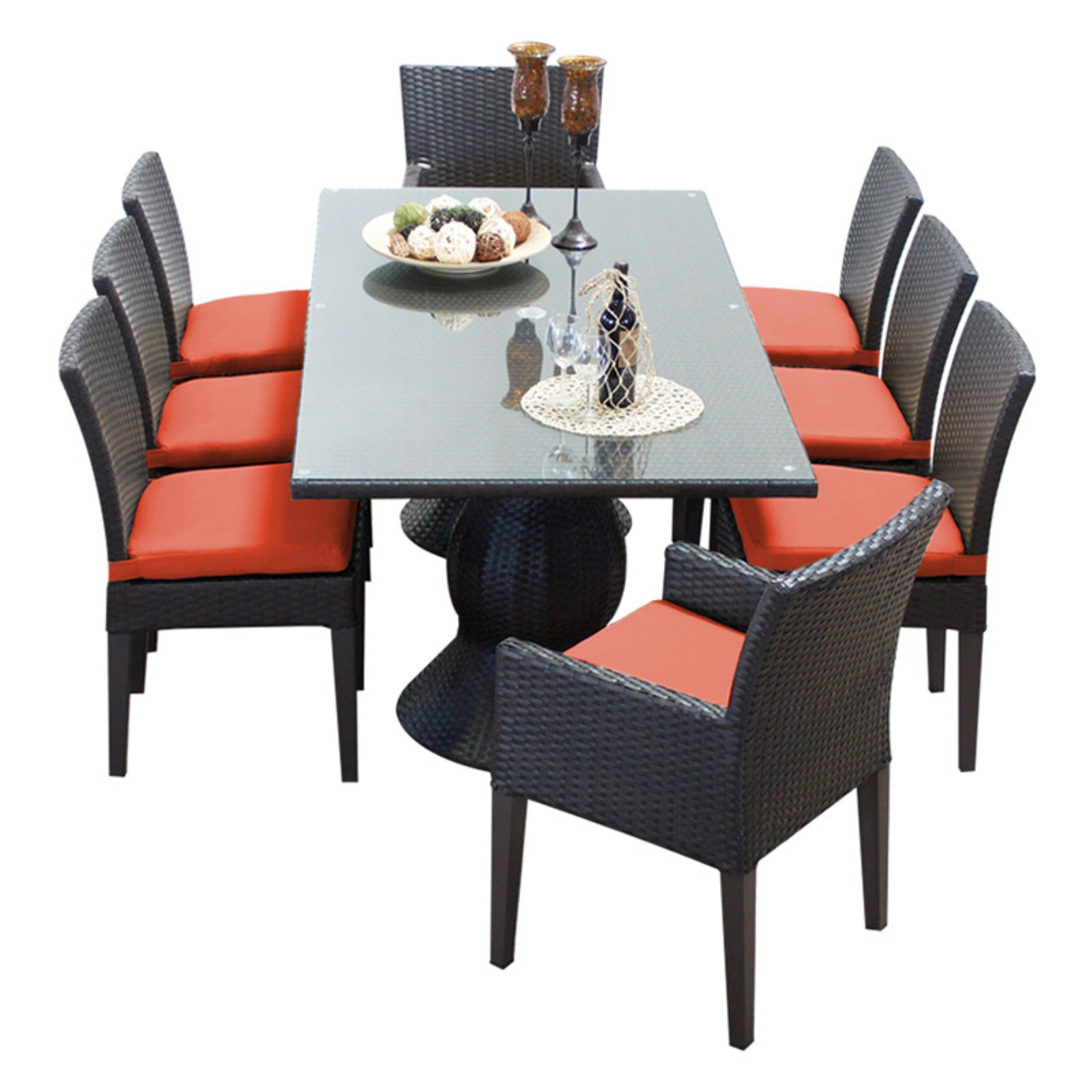 TK Classics Napa Wicker 9 Piece Rectangular Patio Dining Set with Side Chair and 16 Cushion Covers