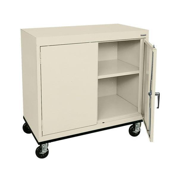 "Sandusky Lee 36""W x 24""D x 36""H 2-Shelf Transport Mobile Work Height Cabinet"