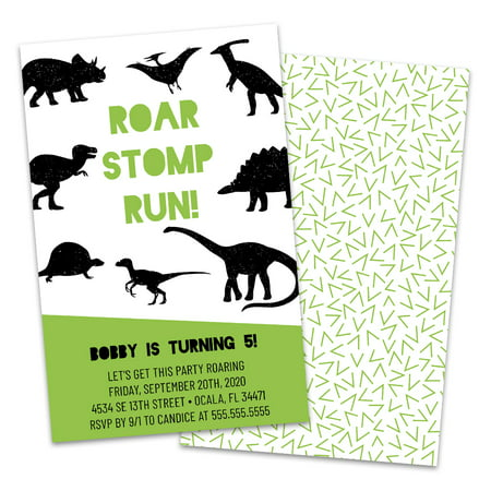 Personalized Roaming Dinosaurs Birthday Party Invitations