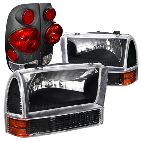 Spec-D Tuning For 1999-2004 Ford F250 Super Duty Style Side, Black Headlights, Corner Lights, 3D Tail Lamps (Left+Right) 1999 2000 2001 2002 2003 2004
