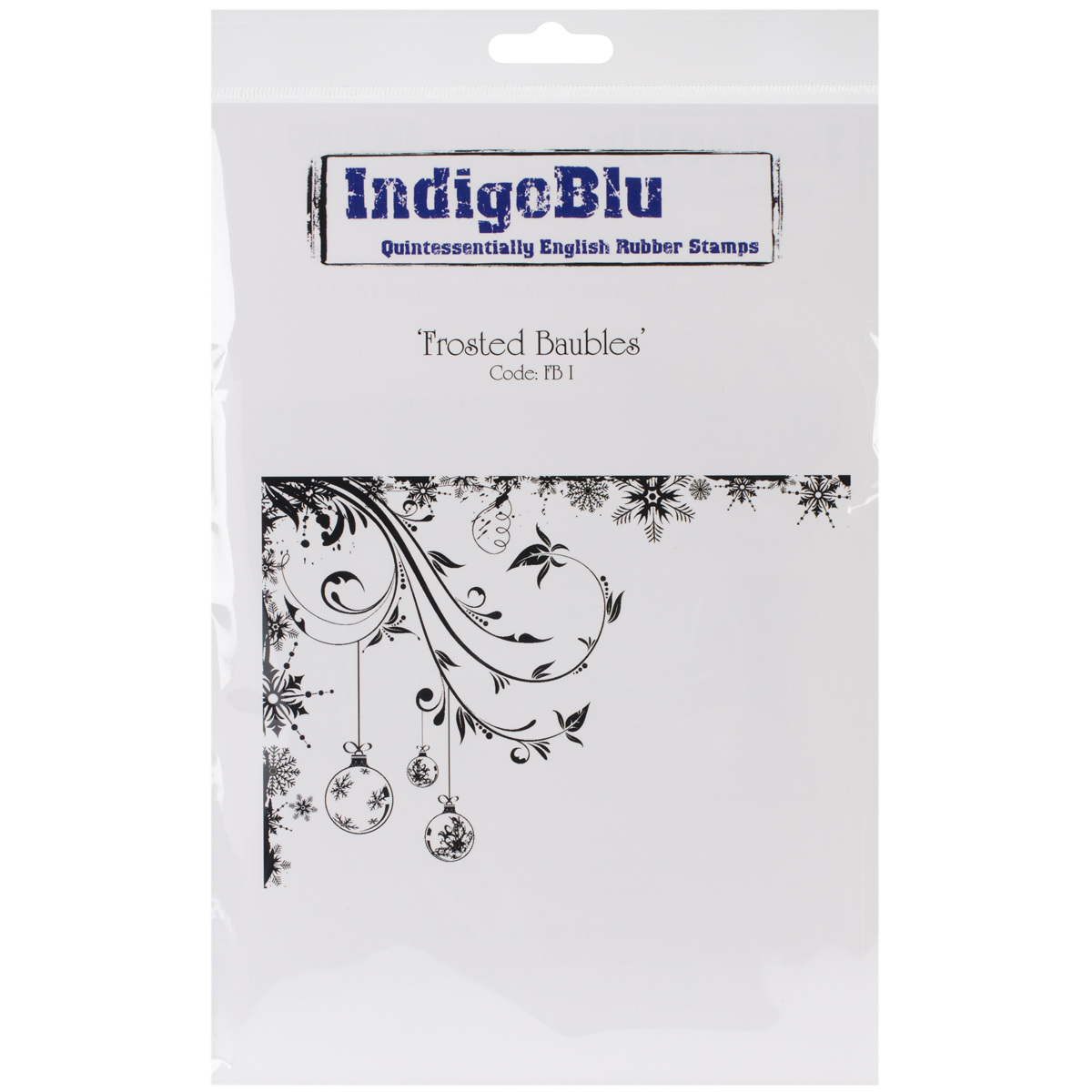 """IndigoBlu Cling Mounted Stamp 9.25""""X6.25""""-Frosted Baubles"""