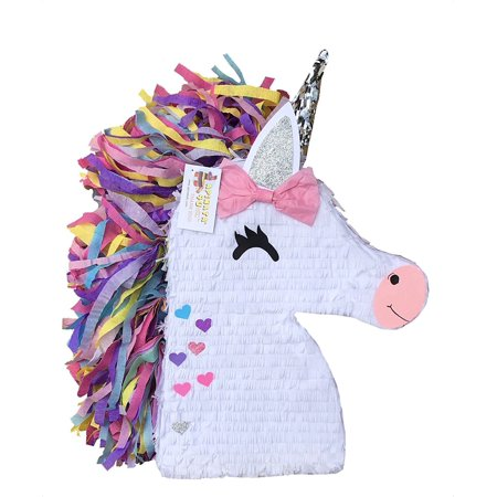 APINATA4U Unicorn Emoticon with Silver Ear and Hearts - Valentines Pinata