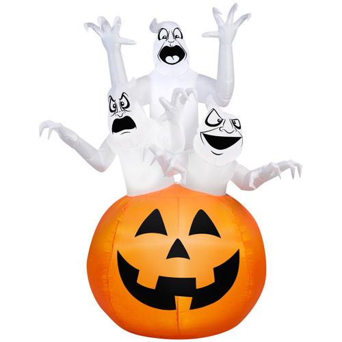 Gemmy Airblown Inflatable 6' X 4' Ghost Trio Halloween Decoration