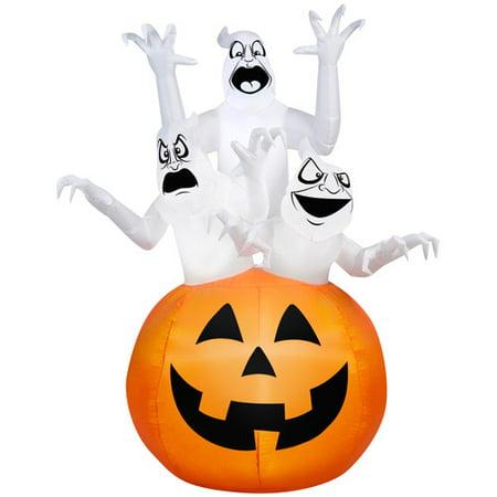 Gemmy Airblown Inflatable 6' X 4' Ghost Trio Halloween Decoration - 5 Days Till Halloween