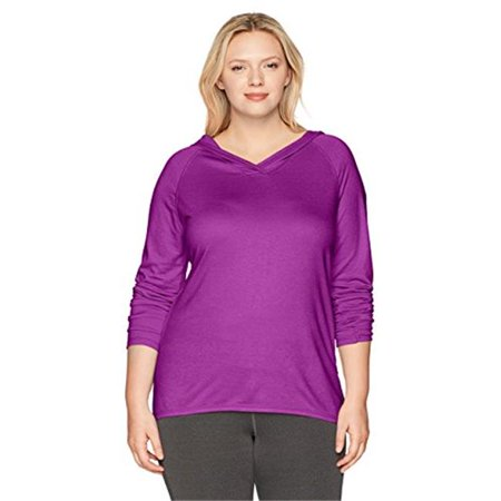 Womens Plus Size Active French Terry Pullover Hoodie - Plum Dream, 5X