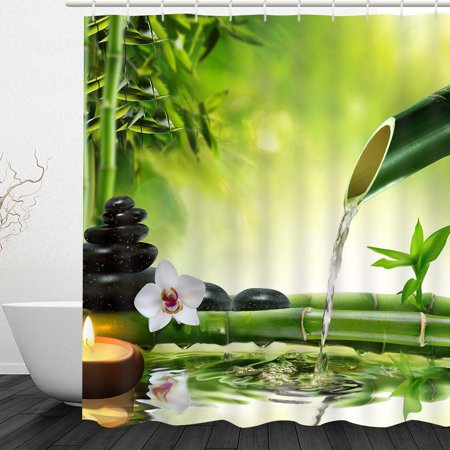 Wendana Shower Curtain Bamboo Water Zen Durable Fabric Bath Curtain Bathroom Accessories Ideas Kitchen Window Curtain Hooks Included ,Bathroom Decoration Original Design, - Bamboo Decorating Ideas