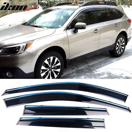 Fits 15-18 Subaru Outback Polycarbonate Window Visors w/ Chrome Trim 4Pc Set