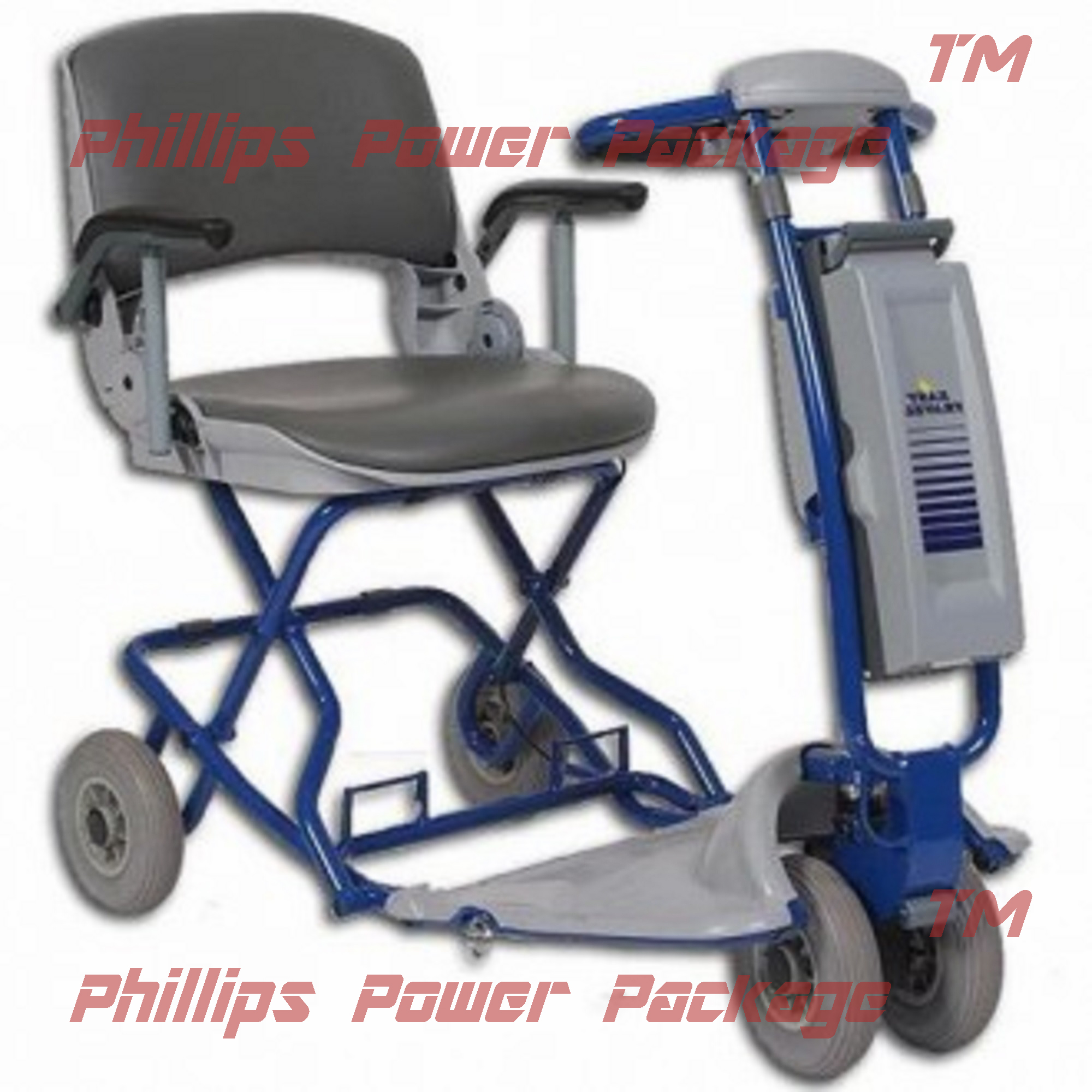 Tzora Classic Lexis Light Folding Lightweight Scooter 4-Wheel Blue PHILLIPS POWER PACKAGE TM $500 VALUE by